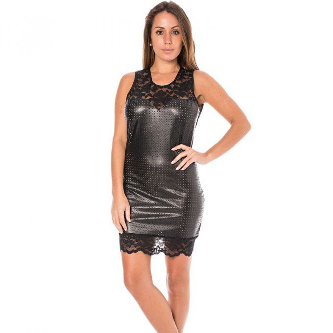 ROBE COCKTAIL SIMILI CUIR - NOIR